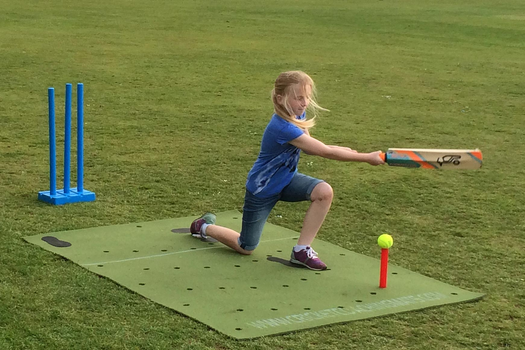 Practice cricket in the garden with the cricket training, practice coaching mat